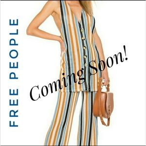 Free People Striped 2 piece top and pants set